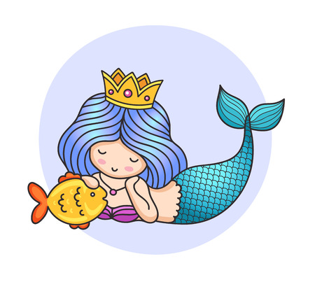 Mermaid, laying on the seabed, stroking golden fish. Colorful illustration. Cartoon character Çizim