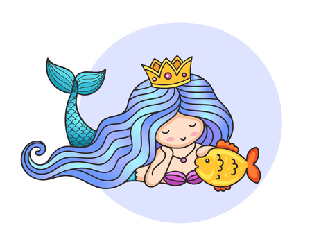 Mermaid with long gradient blue hair and golden fish. Vector colorful illustration.