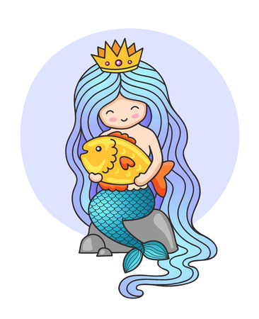 Cute little princess mermaid, sitting on a rock, holding big golden fish. Cartoon character. Siren with long blue hair. Vector illustration. Çizim