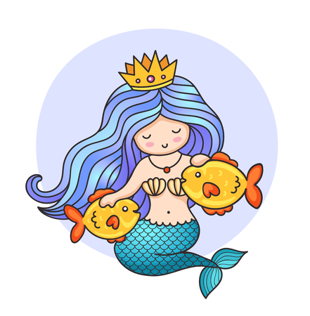 Cute princess mermaid with crown and two golden fish. Cartoon character. Vector illustration.