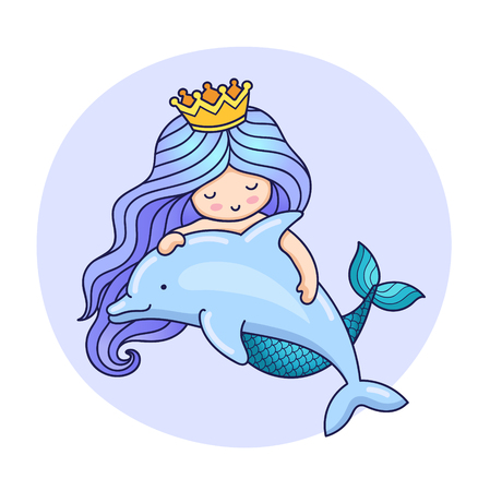 Little dreamy princess mermaid with dolphin. Colorful cartoon character on a round violet background for print, poster, postcard.