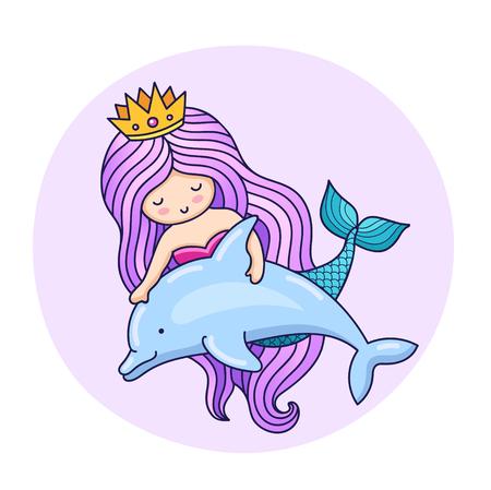 Sirenita adorable, flotando con delfines. Personaje animado. Ilustración de vector colorido para impresión, cartel, postal e invitación.