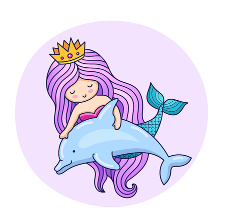 Lovable little mermaid, floating with dolphin. Cartoon character. Colorful vector illustration for print, poster, postcard and invitation.