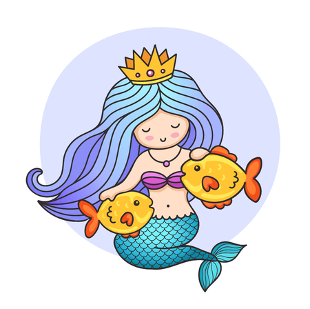 Cute mermaid with two golden fish. Vector colorful cartoon personage for print, postcard, card, poster, decoration.