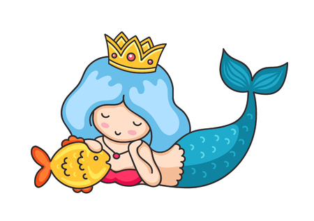 Beautiful lying dreamy mermaid with golden crown and hair. Vector illustration.