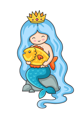 Cute little mermaid with big golden fish. Siren, sitting on a rock. Sticker, badge, patch and pin. Vector illustration.
