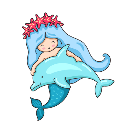 Cartoon mermaid in a wreath of red starfish, with cute little dolphin. Vector illustration.
