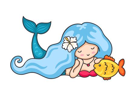 Beautiful lying dreamy mermaid with long wavy blue hair. Vector illustration.