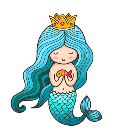 Cute little princess mermaid with turquoise hair and golden crown. Colored vector illustration.