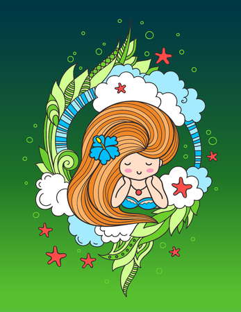 Lying beautiful girl with long beautiful hair, surrounded by clouds, seaweeds and starfish. Vector illustration for postcard, card, poster, print, invitation. 矢量图像
