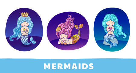 Set of cute cartoon princess mermaids, on different background. Round patch, sticker, badge, print for clothes, t-shirt, postcard, poster. Collection of vector colorful illustrations. 矢量图像