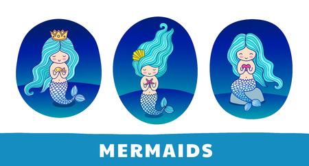 Colección de lindas sirenas de dibujos animados con pelos azules, sobre un fondo azul oscuro. Parche redondo, pegatina, insignia, estampado para ropa, camiseta, postal, cartel. Conjunto de ilustraciones de colores vectoriales.