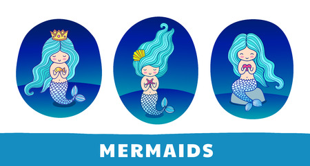 Collection of cute cartoon mermaids with blue hairs, on a dark blue background. Round patch, sticker, badge, print for clothes, t-shirt, postcard, poster. Set of vector colorful illustrations.