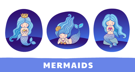 Collection of cute cartoon princess mermaids, floating, sitting on a rock, lying. Round patch, sticker, badge and print for clothes, t-shirt, postcard, poster. Set of vector colorful illustrations. 矢量图像
