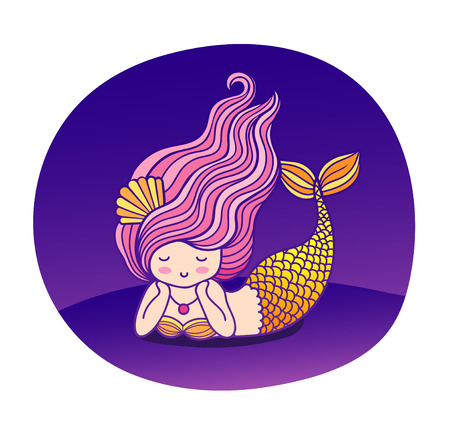 Dreamy lying cartoon mermaid with wavy purple hair. Under the sea. Sticker, poster, badge, patch. Vector flat illustration.