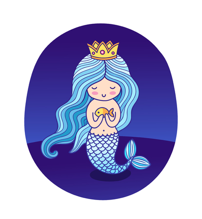 Beautiful little princess mermaid with fish and crown. Vector round sticker, poster, badge, patch.