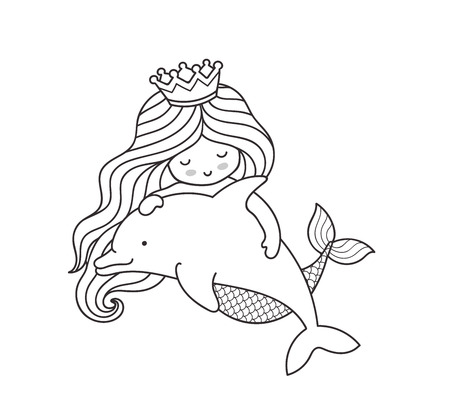 Dreamy little mermaid, floating with dolphin. Vector outline illustration. Çizim