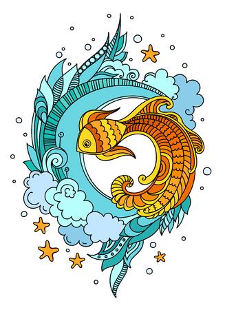 Fisch zwischen Seetang. Farbiger Vektorillustrationsdruck, Plakat, Karte, T-Shirt Vektorgrafik