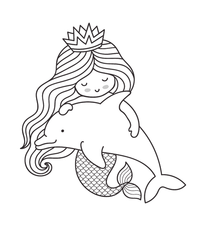 Little kawaii mermaid with dolphin. Vector outline illustration for coloring book.