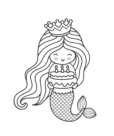 Little happy princess mermaid, holding a birthday cake. Cute cartoon character. Outline illustration for coloring book, card, invitation, poster, print.