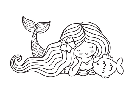 Cute lying dreamy mermaid with long wavy hair, and fish. Cartoon characters. Vector outline illustration, isolated on white background.