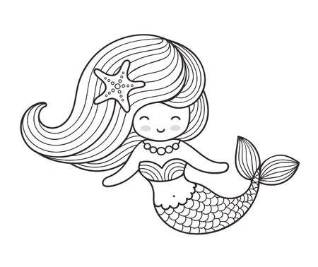 Beautiful mermaid with long hair. Vector outline illustration for coloring book.