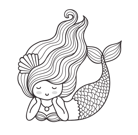 Dreamy lying mermaid with long curly hair. Vector outline illustration for coloring book.