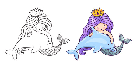 Lovely dreamy mermaid with purple gradient hair, floating with dolphin. Cartoon characters. Vector illustration for coloring book, print, card, postcard, poster, t-shirt, tattoo. Stock Illustratie