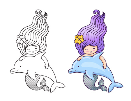 Mermaid with wavy long hair, floating with dolphin. Cartoon characters. Vector illustration for coloring book, print, card, postcard, poster, t-shirt, patch, tattoo