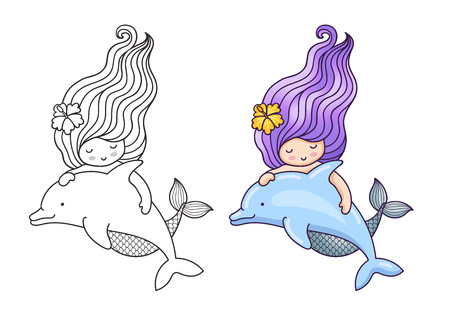 Mermaid, floating with dolphin. Friendship. Cute cartoon character. Vector illustration for coloring book, print, card, postcard, poster, t-shirt and tattoo