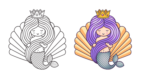 Princess mermaid on the background of a large seashell. Cute cartoon character. Vector illustration for coloring book, print, card, postcard, poster, t-shirt, tattoo.