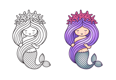 Gorgeous mermaid with a wreath of starfish, holding her long beautiful hair. Cute cartoon character. Vector illustration for coloring book, print, card, postcard, poster, t-shirt, patch, tattoo.