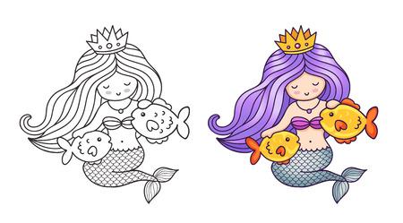 美しい髪の女王人魚、2匹の金魚をなでる。かわいい漫画のキャラクター。塗り絵、印刷、カード、はがき、ポスター、Tシャツ、パッチ、タトゥー用ベクターイラスト