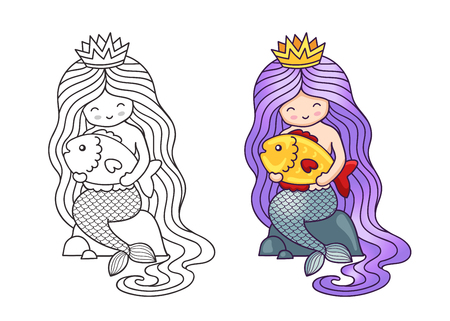 Little mermaid with long purple gradient hair, sitting on a rock, holding big golden fish. Cartoon characters. Vector illustration for coloring book, print, card, postcard, poster, t-shirt, tattoo.
