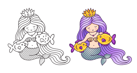 Mermaid with purple gradient hair, stroking two golden fish. Cartoon characters. Vector illustration for coloring book, print, card, postcard, poster, t-shirt, tattoo.