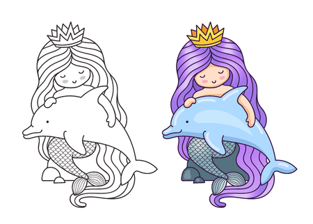 Mermaid, sitting on a rock, holding and stroking cute dolphin. Cartoon characters. Vector illustration for coloring book, print, card, postcard, poster, t-shirt, patch and tattoo