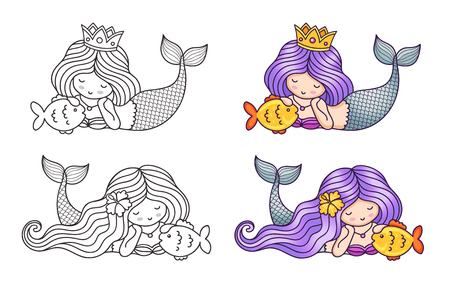 Collection of little dreamy lying mermaid, stroking golden fish. Cartoon characters. Vector illustration for coloring book, print, card, postcard, poster, t-shirt, patch and tattoo Çizim