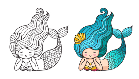 Lying dreamy mermaid. Cute cartoon character. Vector colored illustration for print, card, poster, t-shirt, coloring books, tattoo
