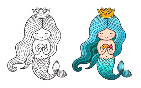 Princess mermaid. Cute cartoon character. Vector colored illustration for print, card, poster, t-shirt, coloring books, tattoo