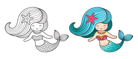 Mermaid. Cute cartoon character. Vector colored illustration for print, card, poster, t-shirt, coloring books and tattoo Çizim