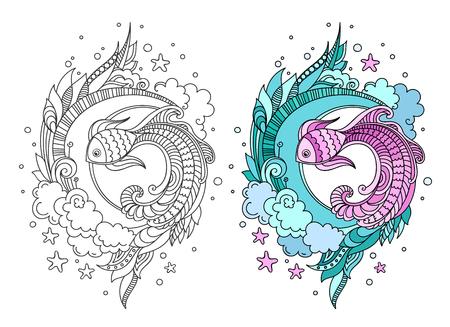Hand gezeichnete runde Zusammensetzung des Fisches unter Seetang. Gekritzel farbige Vektorillustration für Erwachsene Malbuch Seite, Druck, T-Shirt, Poster, Karte.