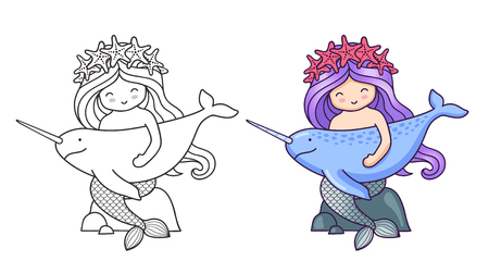 Mermaid, sitting on a rock, holding narwhal. Cartoon characters. Vector illustration for coloring book, print, card, postcard, poster, t-shirt, patch and tattoo