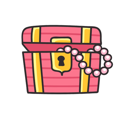 Treasure chest. Cartoon sticker and pin, patch, badge and print. Vector illustration Illustration