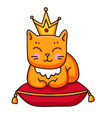 Ginger cat with crown sitting on royal pillow. Cute cartoon animal. Sticker, patch, badge, pin. Vector outline illustration.