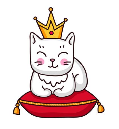 Simpatico gatto bianco con corona su un cuscino reale rosso. Adesivo, toppa, distintivo, spilla. Illustrazione vettoriale.