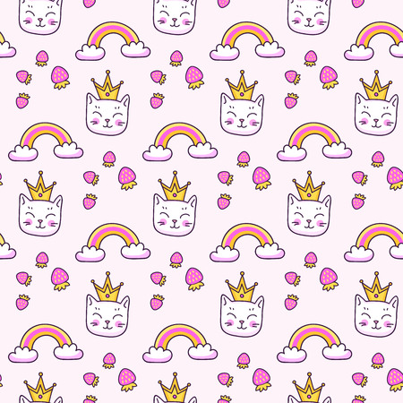 Vector seamless pattern. Cute little cat with gold crown and rainbow. Illustration