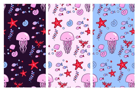 Seamless vector patterns with cute jellyfish and sea elements on different backgrounds. Fish, seaweed, starfish, coral, seashell. Design for fabric, wallpaper, textile, decor and postcard.