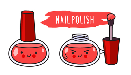 Warlike red nail polish with brush. Cute cartoon doodle character with evil face. Vector flat illustration.