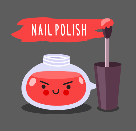 Warlike red nail polish with brush. Cute cartoon doodle character with evil face.