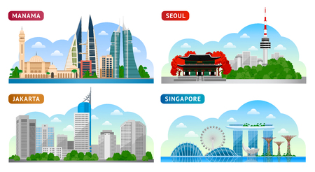 Travel to Asia. Singapore, Seoul, Jakarta and Manama. Horizontal panoramic view. Vector flat illustration